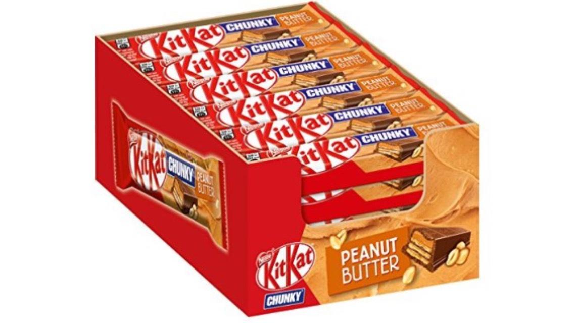 Nestlé® KitKat® ChunKy pindakaas, chocoladereep in melkchocolade, met pindakaas & crunchy wafel, meervoudig, aantal: 24-pack (24 x 42 g)