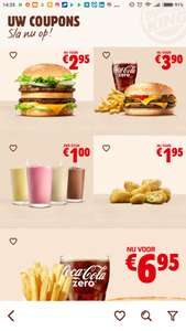 Big King, Double Cheeseburger Menu en meer kortingcoupons @ Burger King App