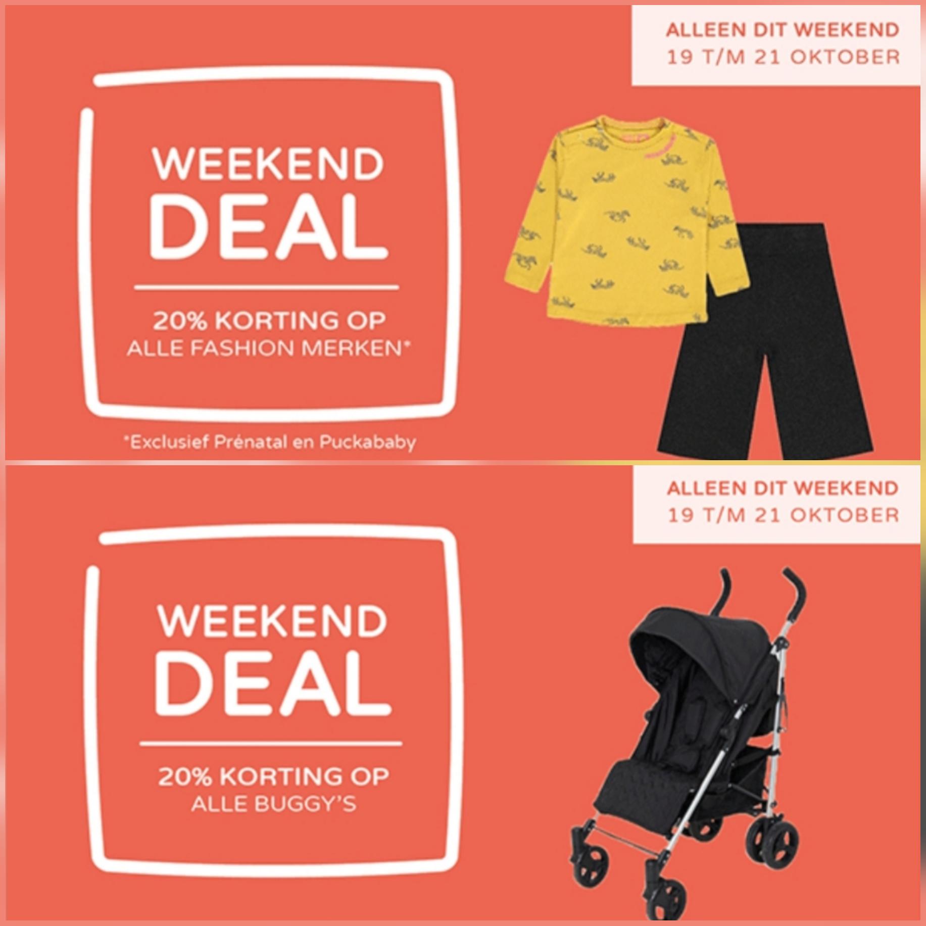 Weekend deal bij Prénatal 20% korting op alle fashion merken en buggy's!