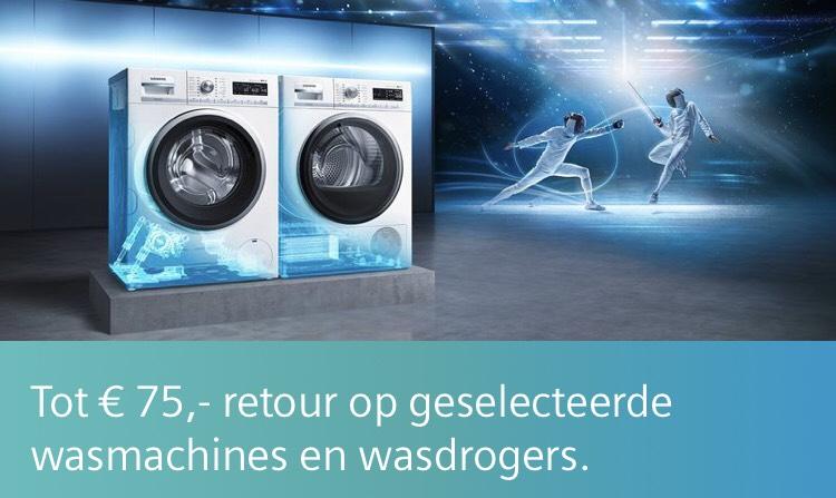Tot 75 euro retour bij deelnemende wasmachines en drogers @Siemens