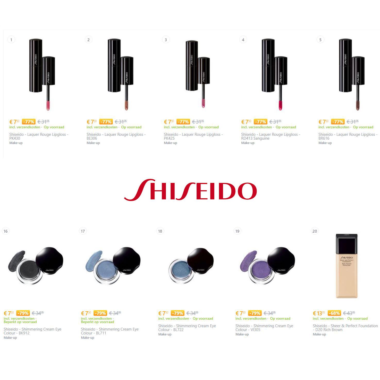 Shiseido make-up 68-79% korting @ Coolshop