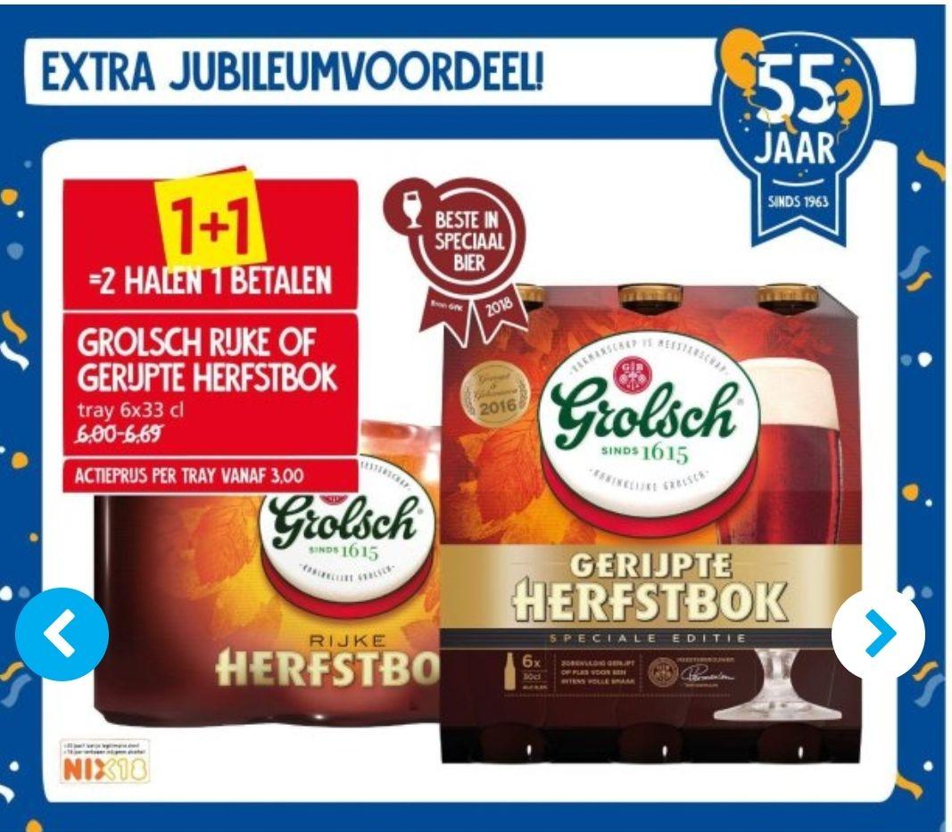Volgende week Grolsch rijke of gerijpte herfstbok 1+1 bij Jan Linders