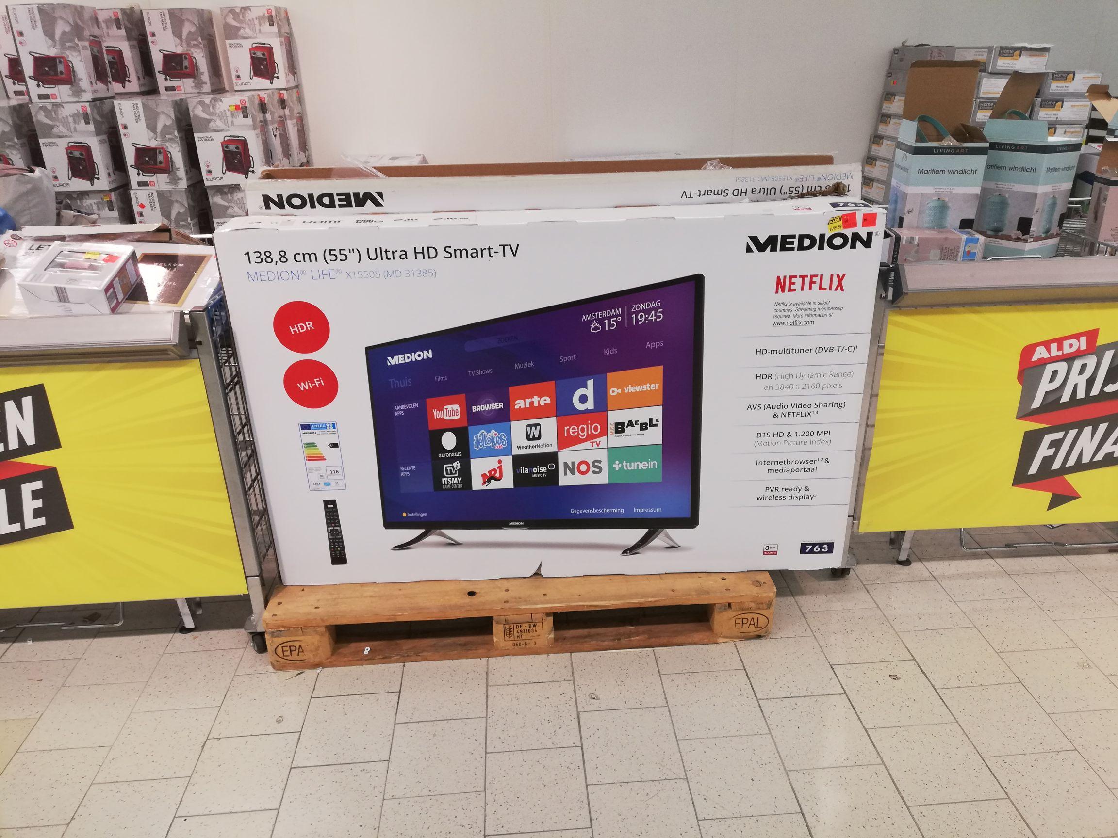 Medion smart tv 55'' van 500,- voor 300,- @aldi