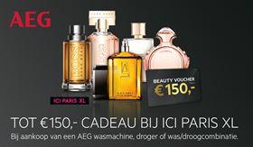 Bij aankoop van AEG wasmachine/droger uit het actieaanbod krijgt u een ICI PARIS XL e-gift Card t.w.v. 50, 75 of 150 euro cadeau.