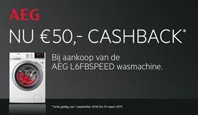 €50,- cashback op de AEG L6FBSPEED wasmachine