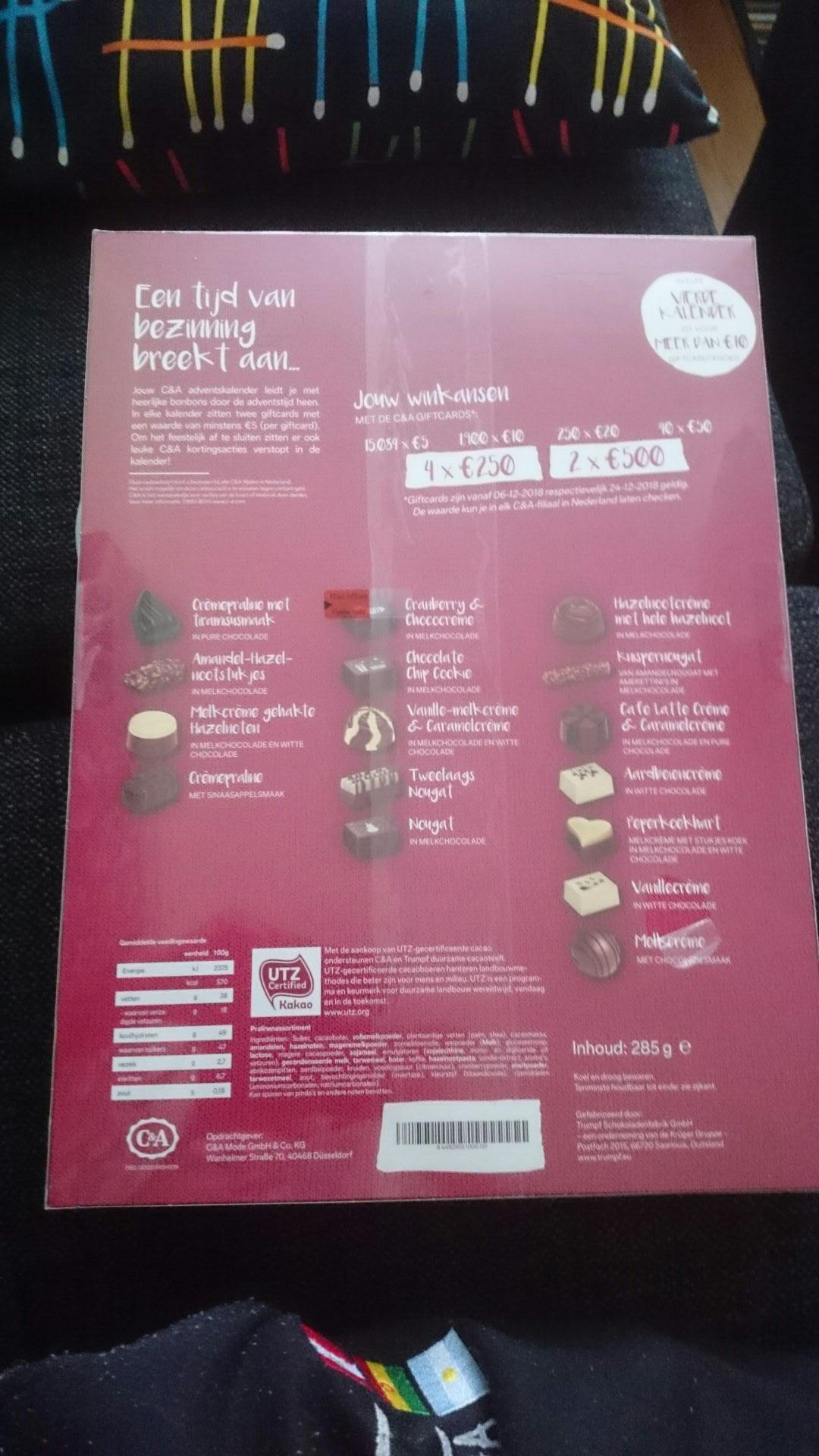 C&A adventkalender €12,50 met minimaal €10 tegoeden