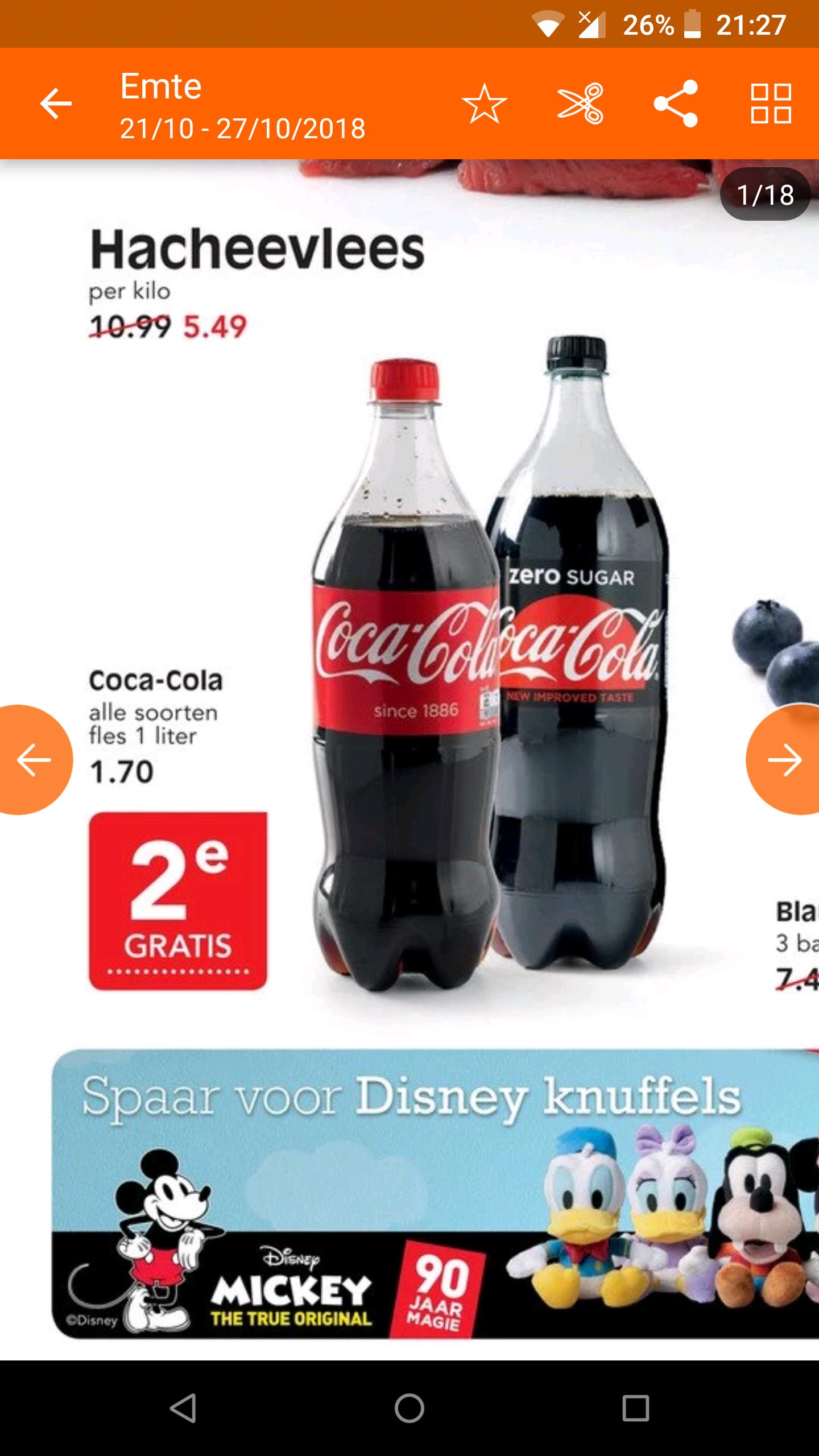 1 + 1 gratis op alle 1l Coca Cola bij Emté