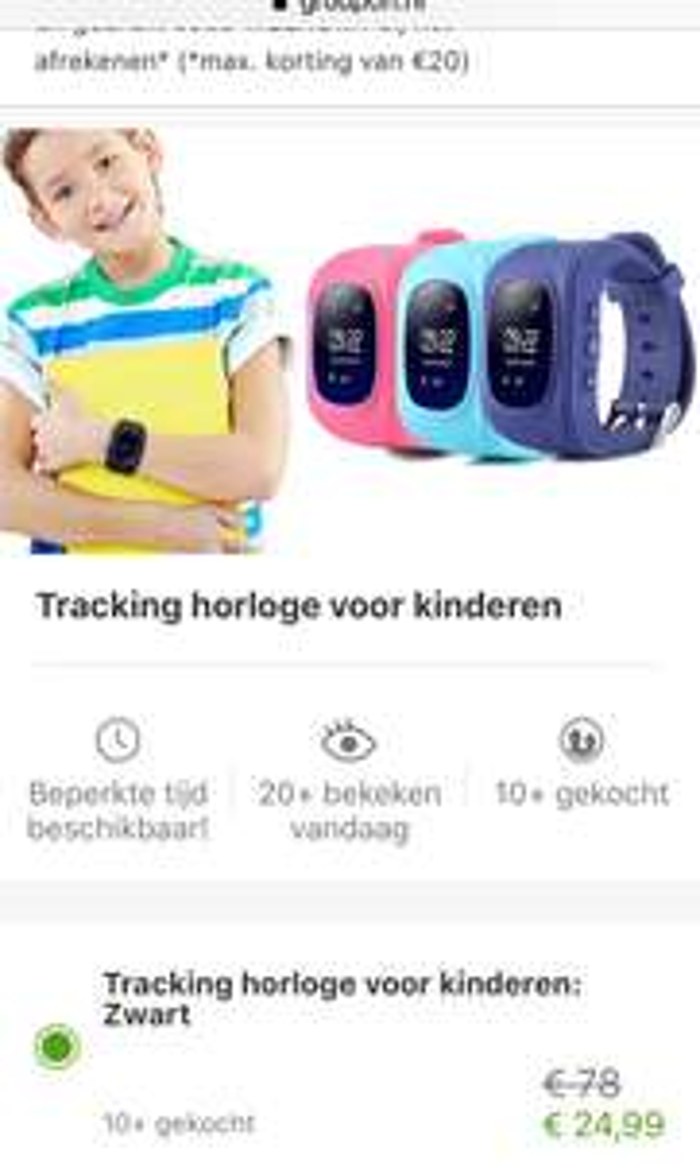 Tracking horloge voor kinderen