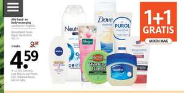 Alle Hand en bodyverzorging, uitgezonderd op bepaalde producten