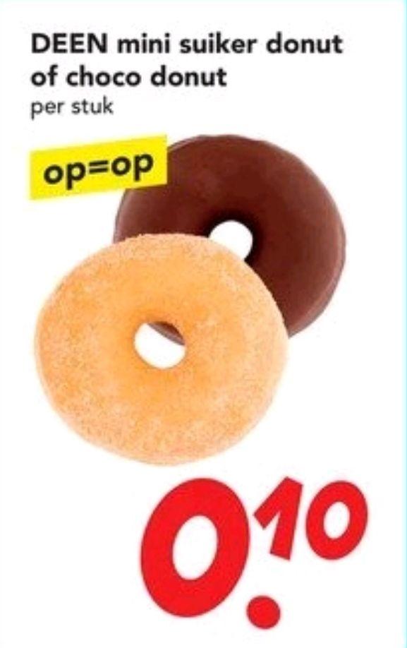 DEEN Choco of suiker mini donuts 10 cent op DEENsdag