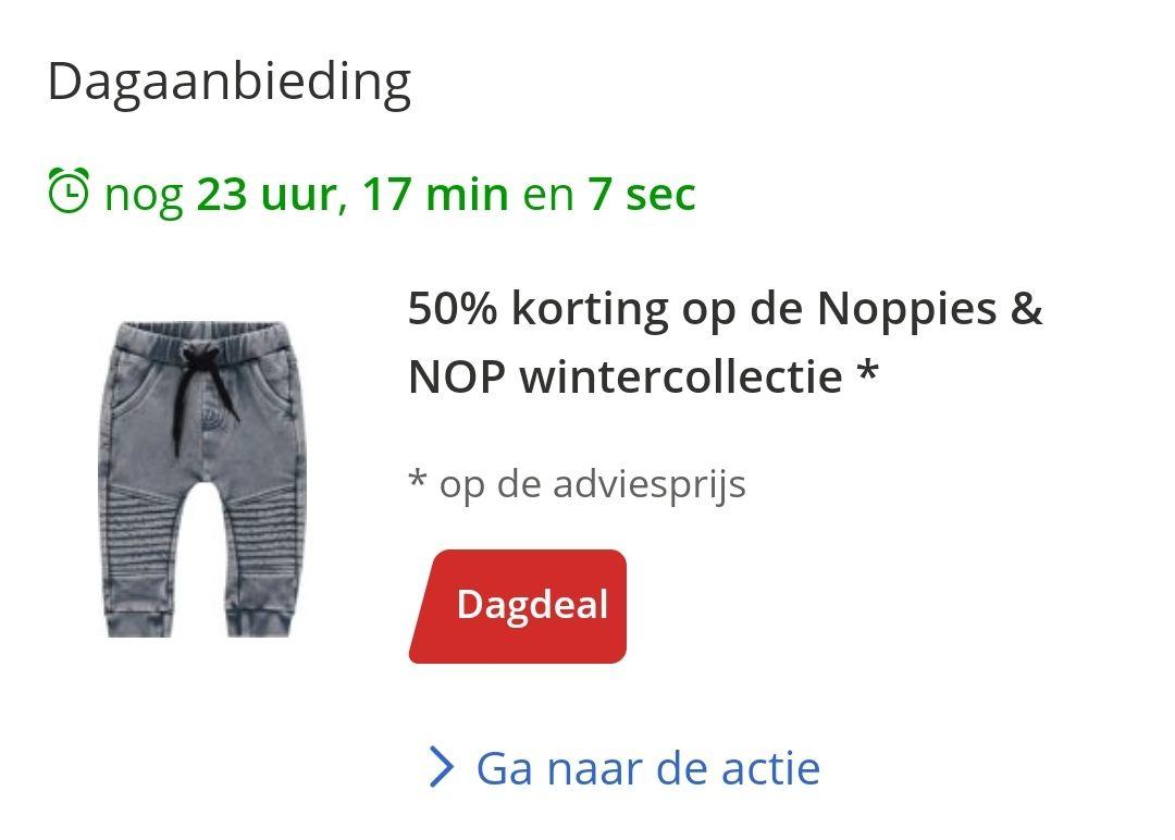 50% korting op baby- & Kinderkleding van Noppies & NOP  Bij Bol.com