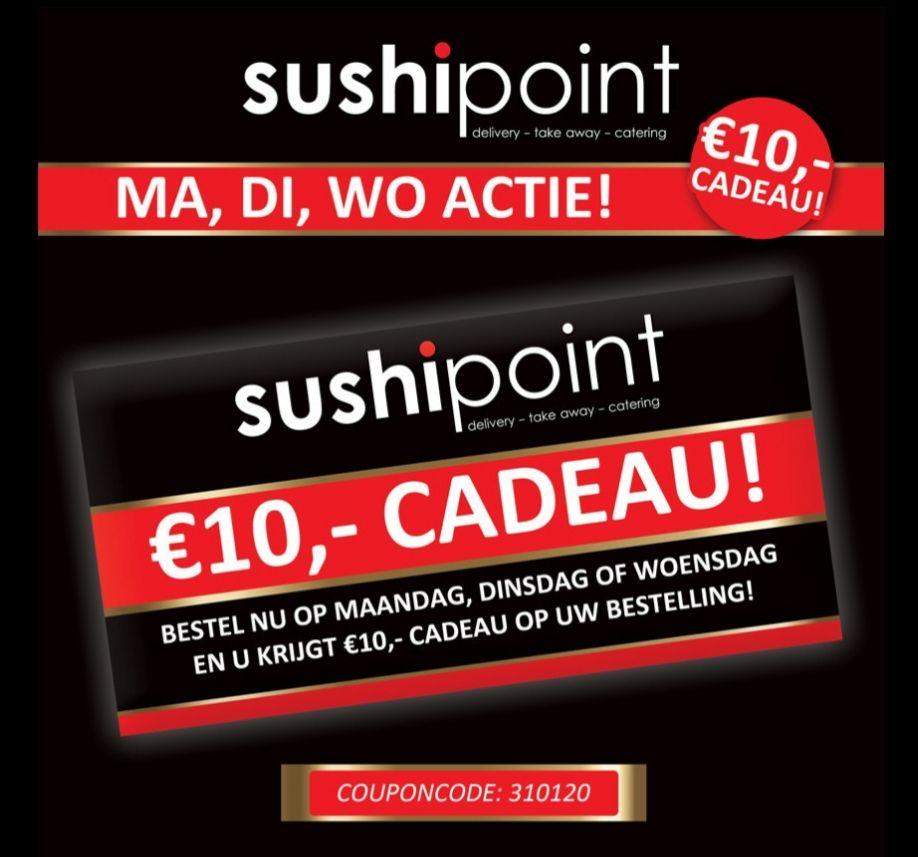 10 euro korting op ma, di, wo @ Sushipoint Apeldoorn