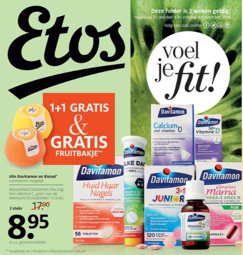 Actie: Davitamon + Bional 1+1 gratis + gratis fruitbakje @ ETOS