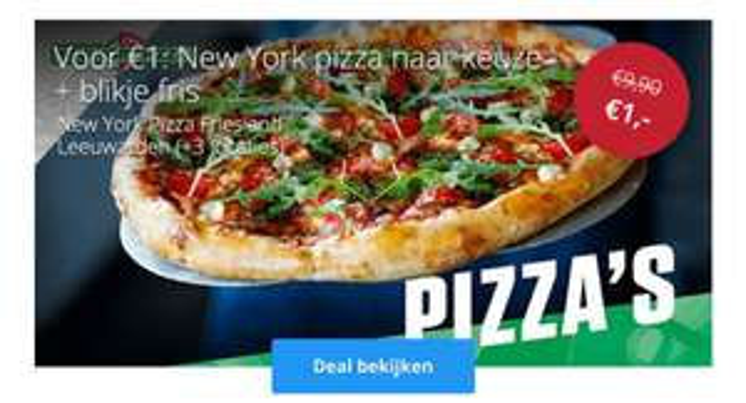 Friesland nu ook op social deal! New york pizza + blikje fris voor €1,-