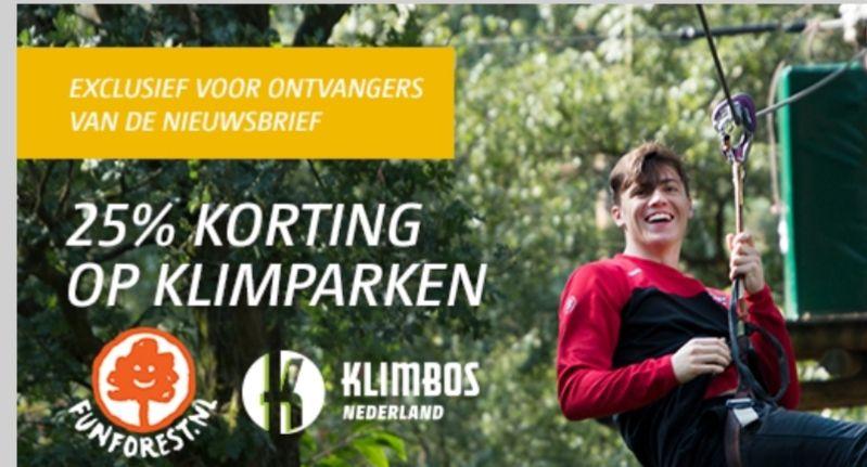 25% korting op 8 klimparken van Fun Forest en Klimbos Nederland