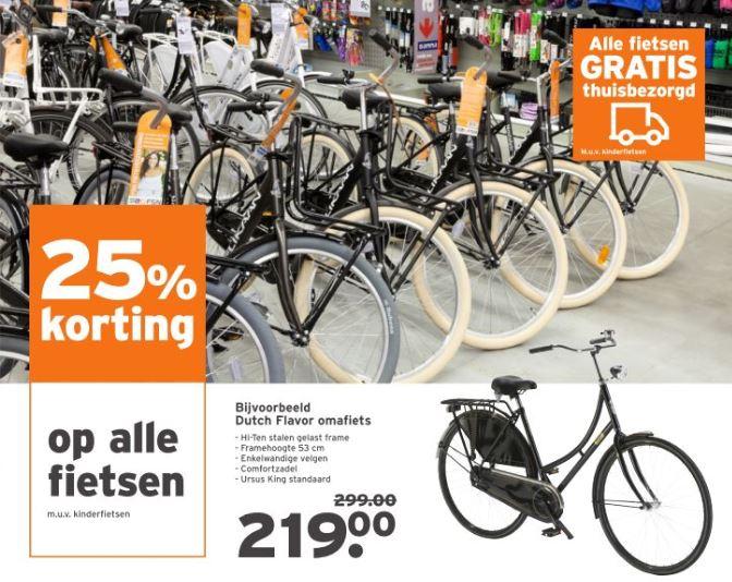 25% korting op alle fietsen @Gamma