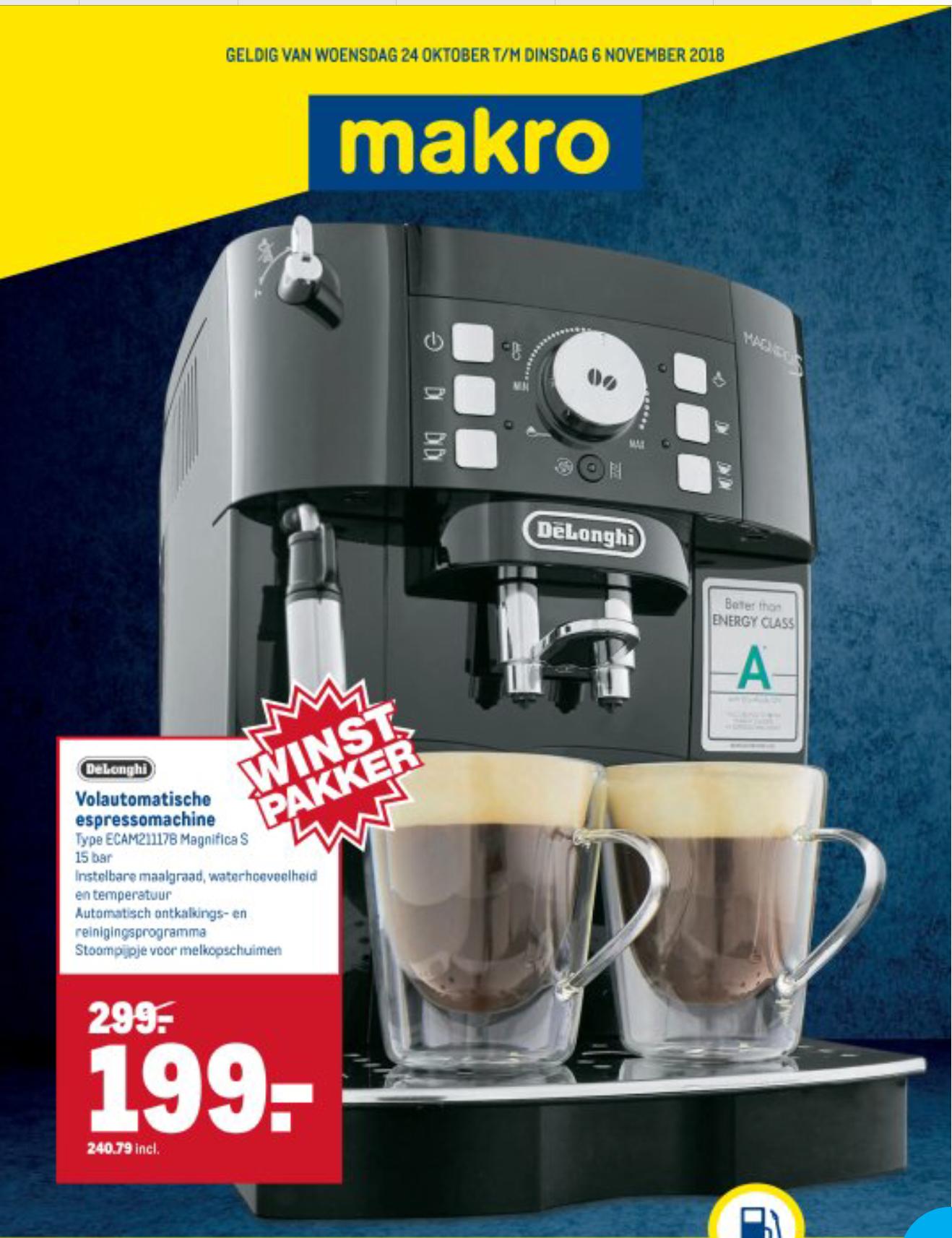 De De'Longhi Magnifica S ECAM 21.117.B Espressomachine @Makro