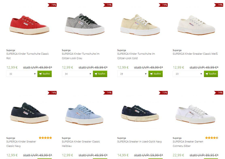 Superga sneakers 59-83% korting - 20+ modellen va €12,99 @ Outlet46