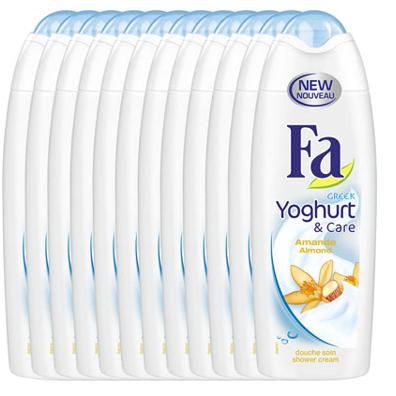 Tot 81% korting op Fa voordeelverpakkingen. €6,96 voor 12 x 250 ml Fa shower cream Greek Yoghurt and Cara Almond @Drogisterij.net
