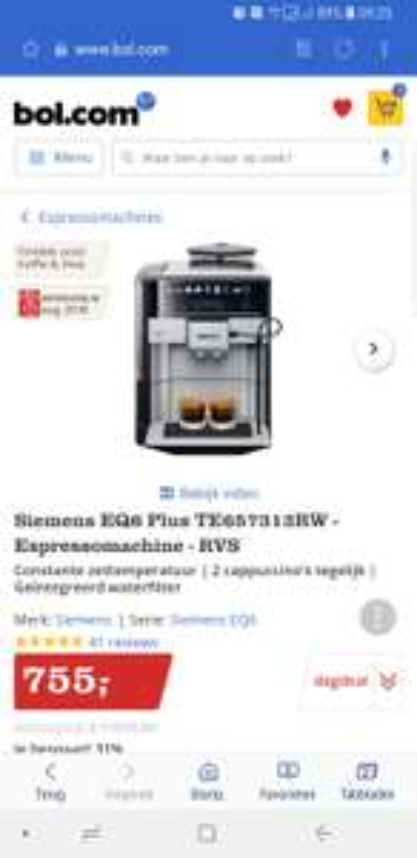 Siemens EQ6 Plus TE657313RW - Espressomachine - RVS + €50,- cashback