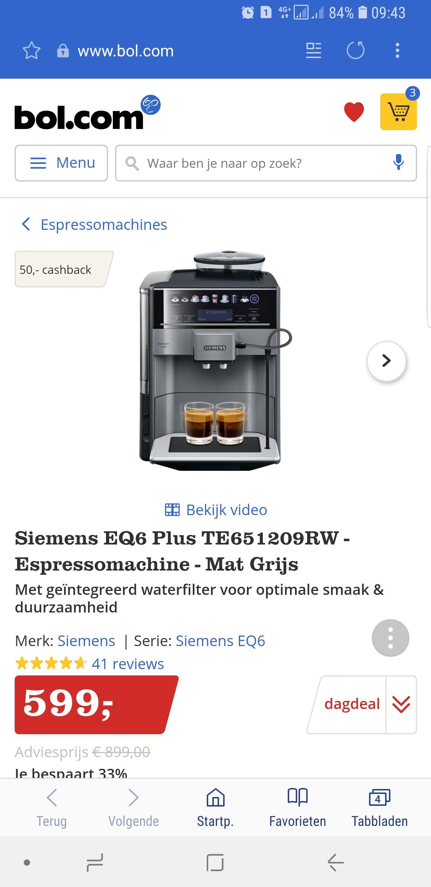 Siemens EQ6 Plus TE651209RW - Espressomachine - Mat Grijs + €50,- Cashback