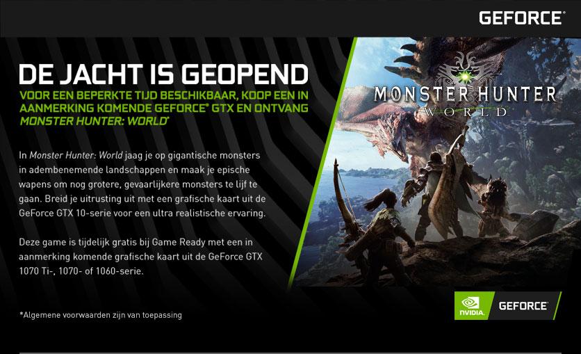 Gratis Monster Hunter: World bij Nvidia GTX 10x0 kaarten