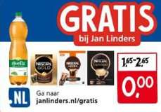 GRATIS Rivella Green Tea 1,5Ltr en/of Nescafé  @ Jan Linders