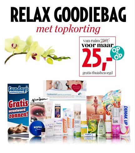 Relax Goodiebag t.w.v. €210 nu voor €25 @ Veronica Magazine