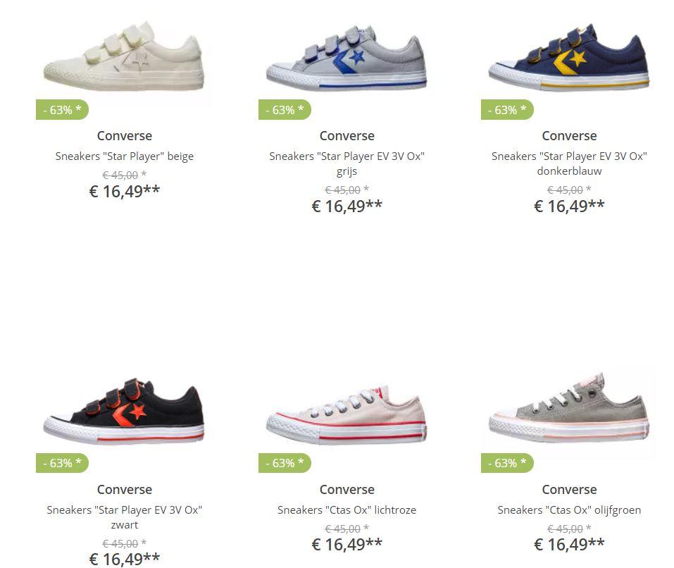 Kids Converse sneakers va €15,49 (tot -66%) + gratis verzending à €3,95@ Limango