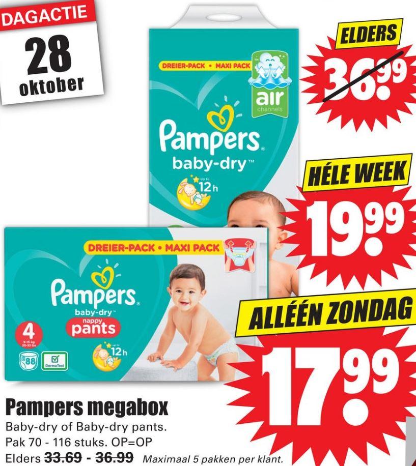 Pampers megabox voor €17,99 @Dirk