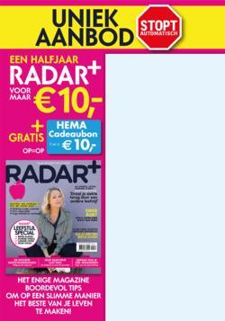 Halfjaar radar+ voor €10 + gratis hema cadeaubon van €10