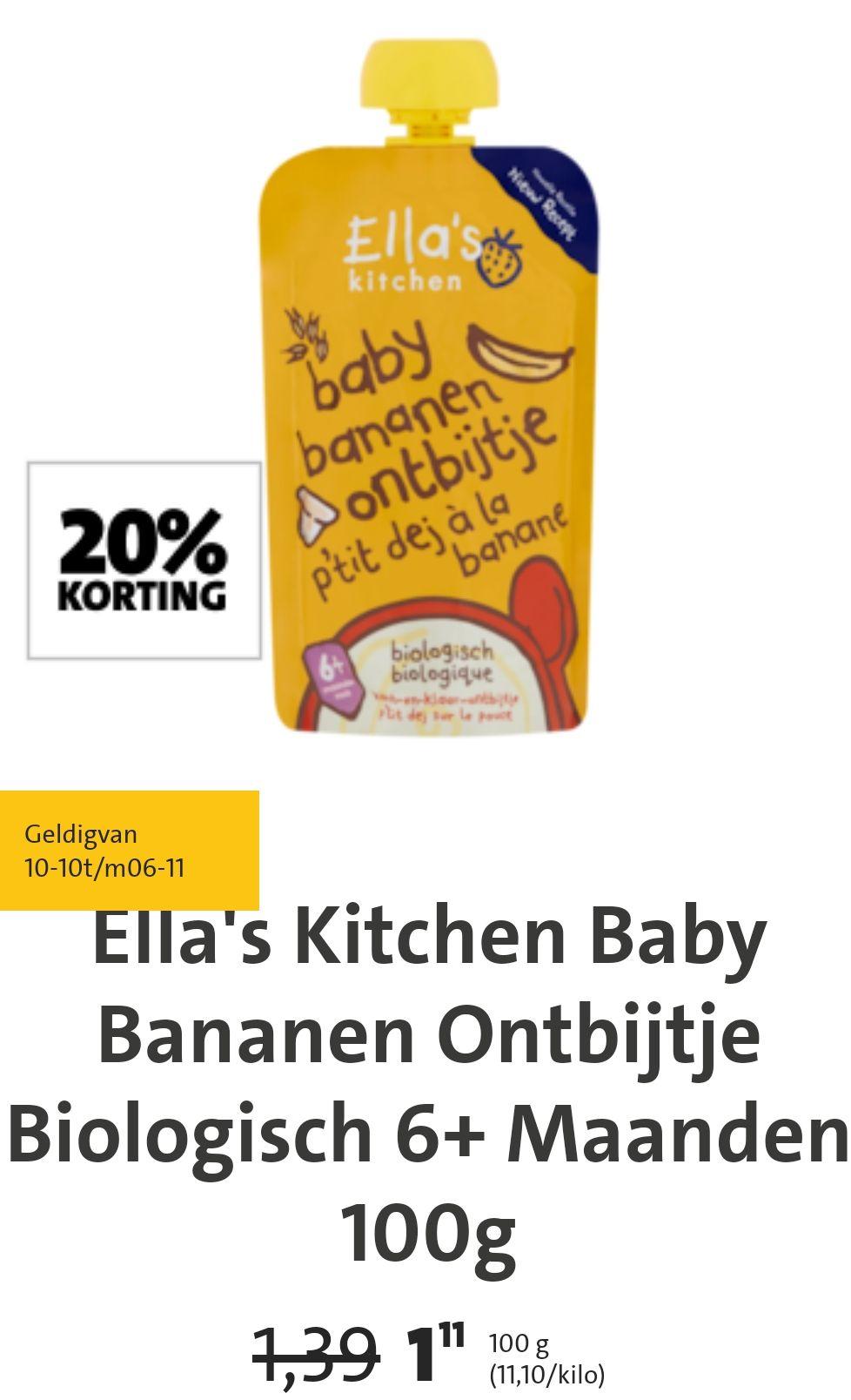 20% korting producten ella's kitchen bij jumbo