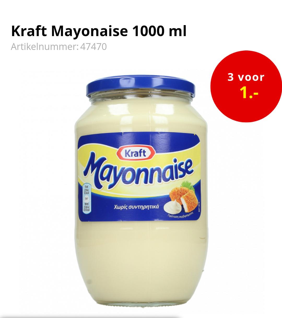 Kraft mayonaise 3 x 1 liter voor maar €1 @ op=op voordeelshop