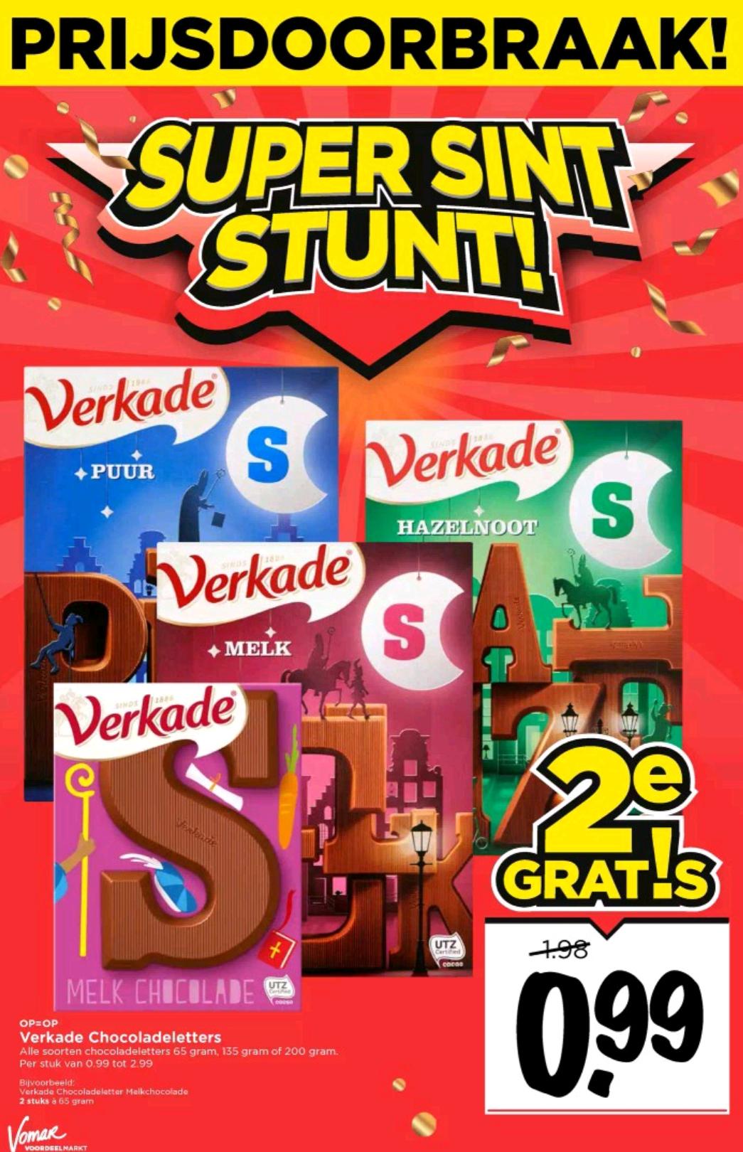 Verkade chocoladeletter, 2e gratis @ Vomar