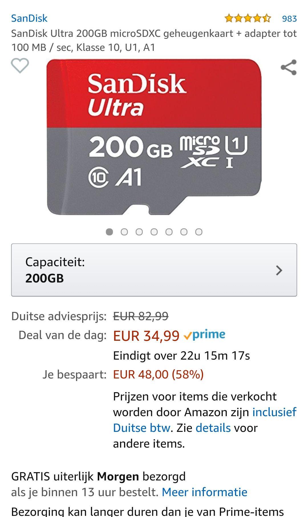 Amazon Prime daydeal: SanDisk Ultra 200GB microSDXC geheugenkaart + adapter