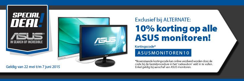 Kortingcode voor 10% korting op alle monitoren van Asus @ Alternate