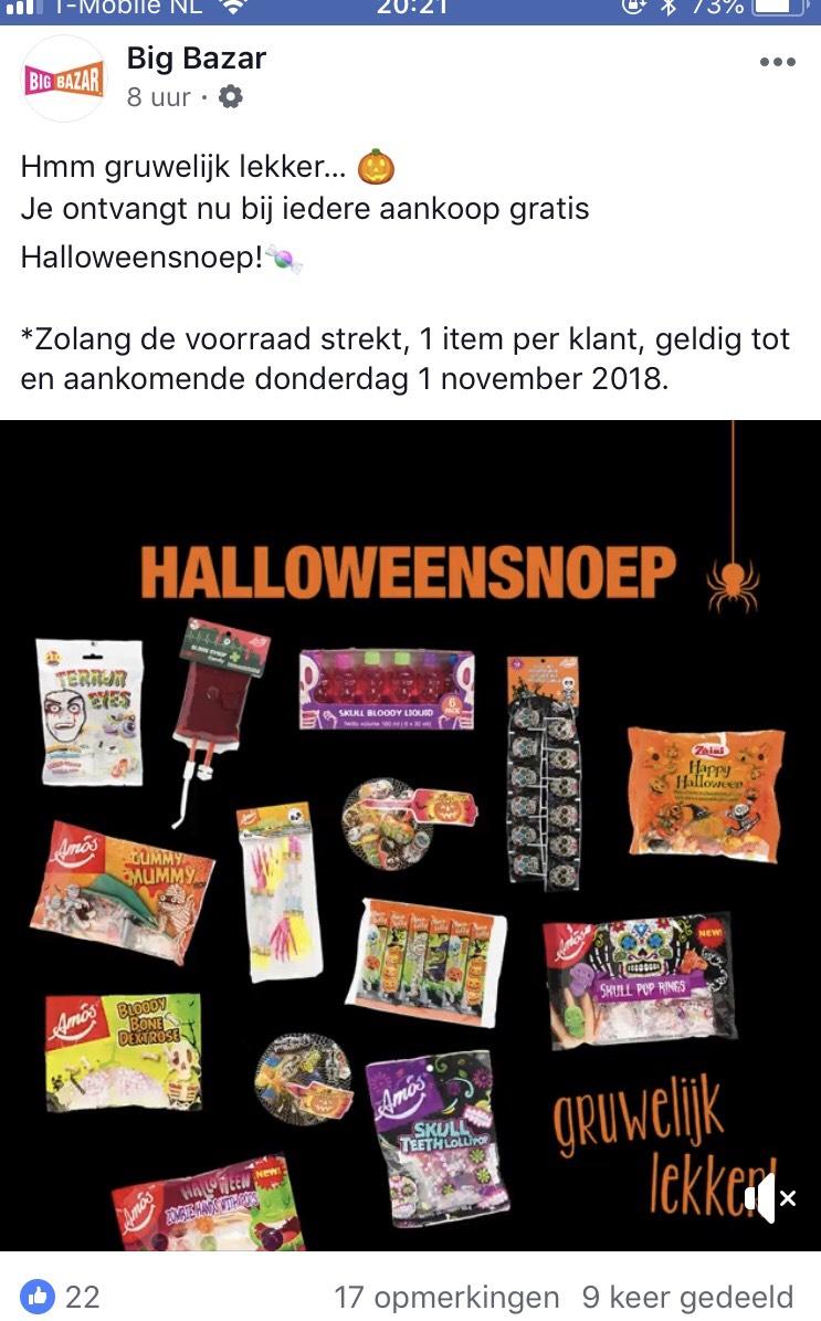 Gratis Halloween snoep bij de big bazar, bij iedere aankoop