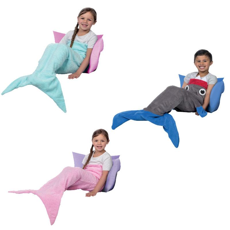 Zeemeermin- of haaiendeken van fleece €4,95 @ Action