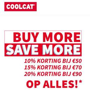 Buy More Save More: 10-20% (extra) korting @ Coolcat