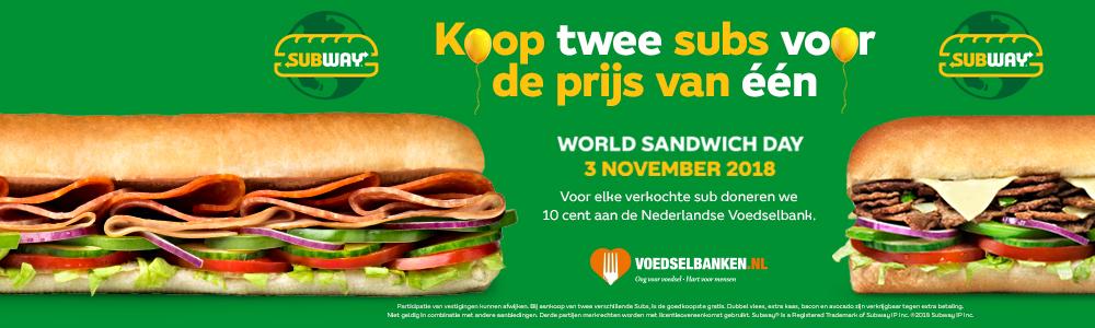 World Sandwich Day - 2 subs voor de prijs van 1 @ Subway