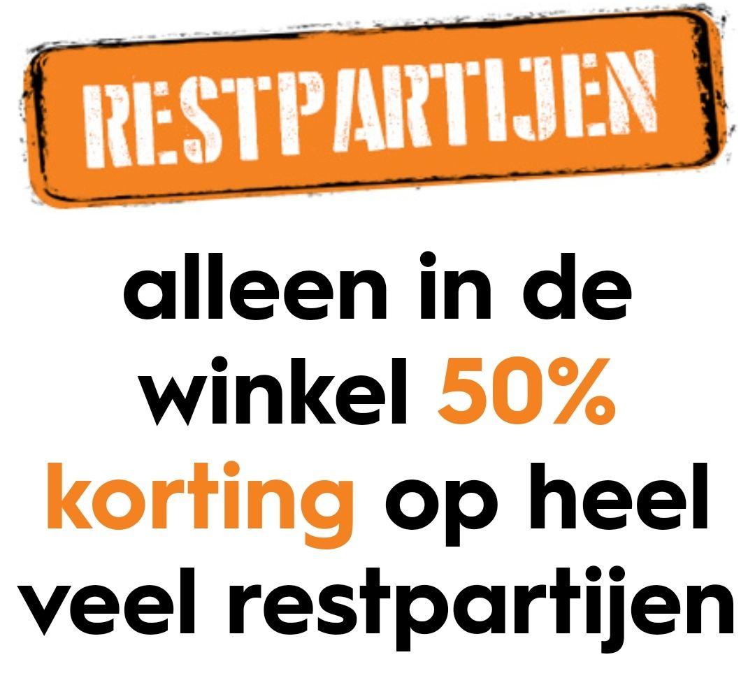Restpartijen bij Blokker in de winkel met 50% korting en ook een deel online