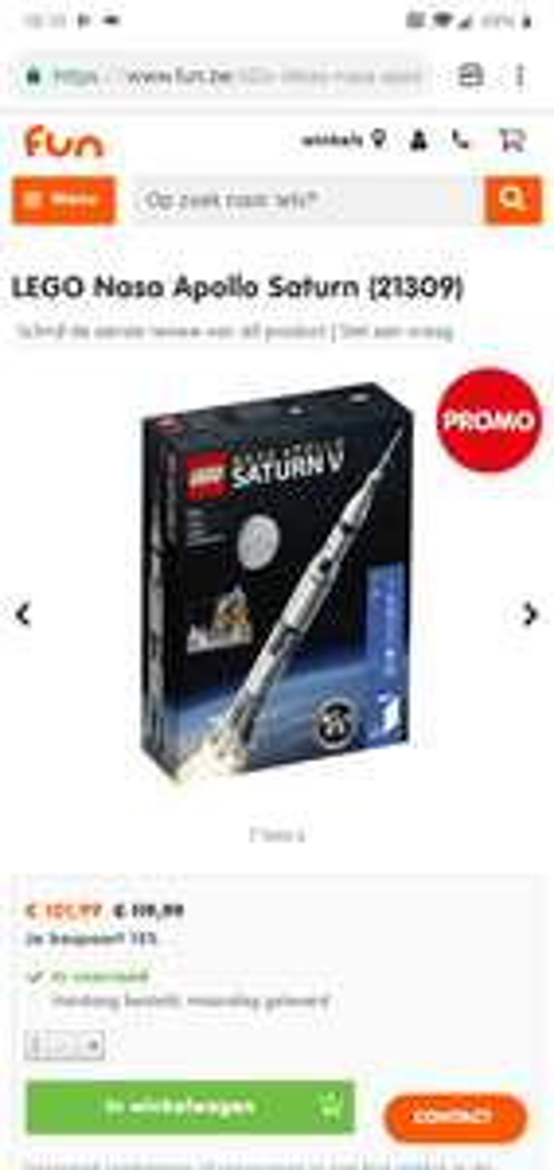 LEGO 15% korting Fun.be (ook NASA Saturn V)