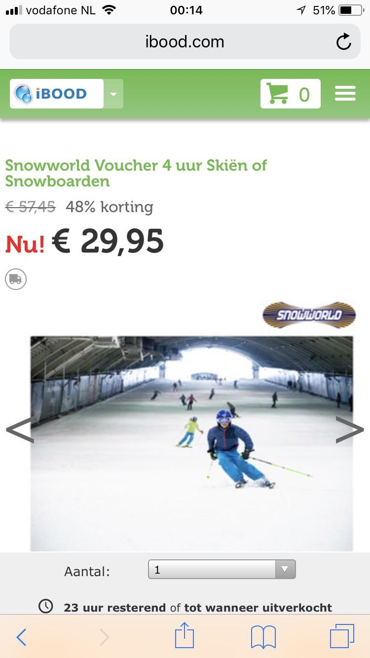 Ibood aanbieding 4 uren skiën plus Diner voor €29,95