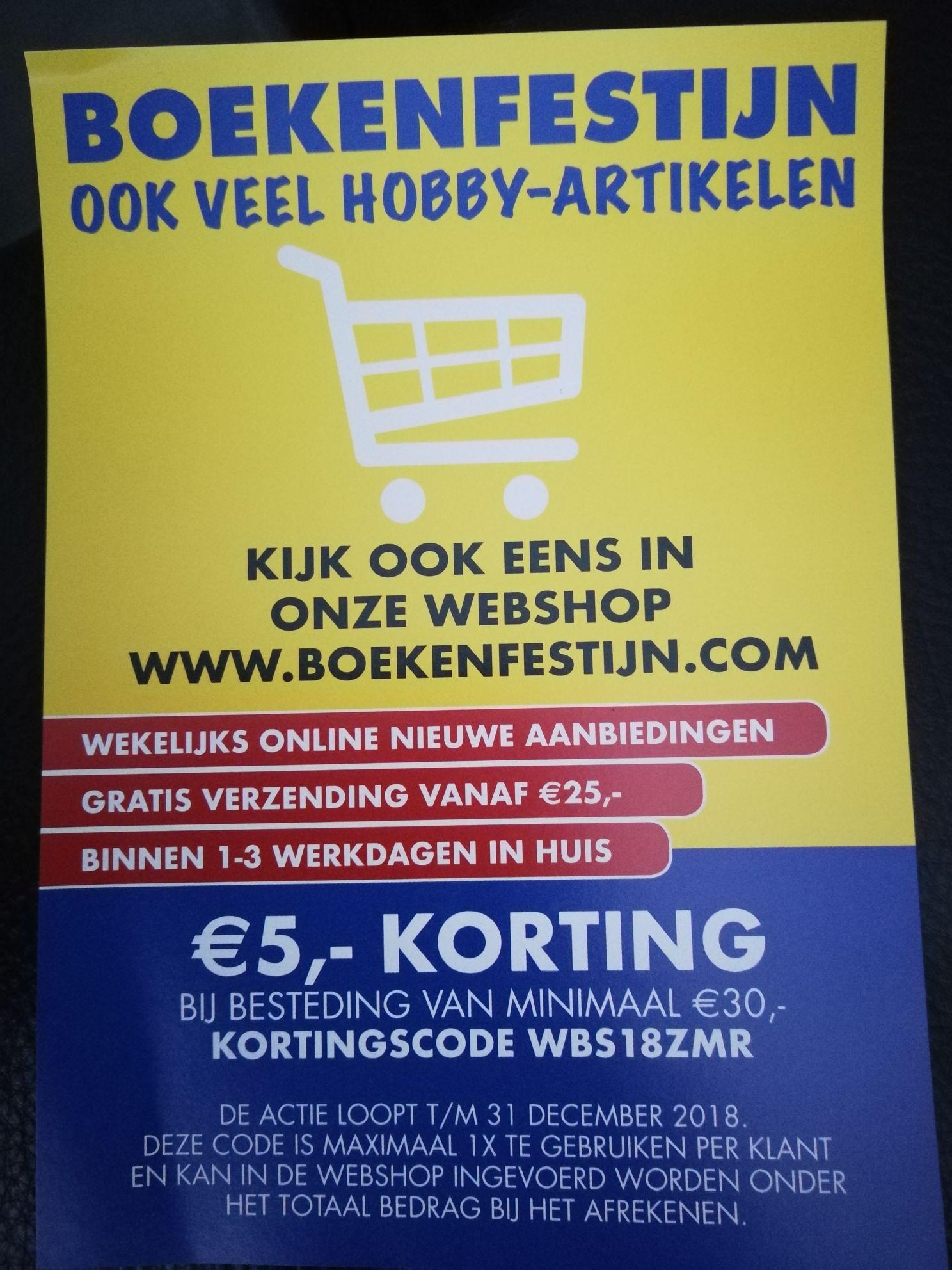Boekenfestijn: 5 euro korting online of bon voor gratis boek in Eindhoven