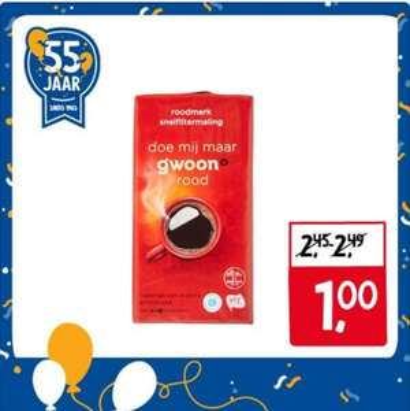 (normaal €2,45) Gwoon Koffie Rood/Cafeïnevrij snelfiltermaling