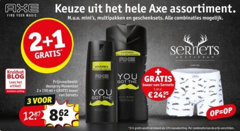 Gratis boxer van Sernets t.w.v. €24.95 bij aankoop van 2 (2+1) Axe producten bij Kruidvat