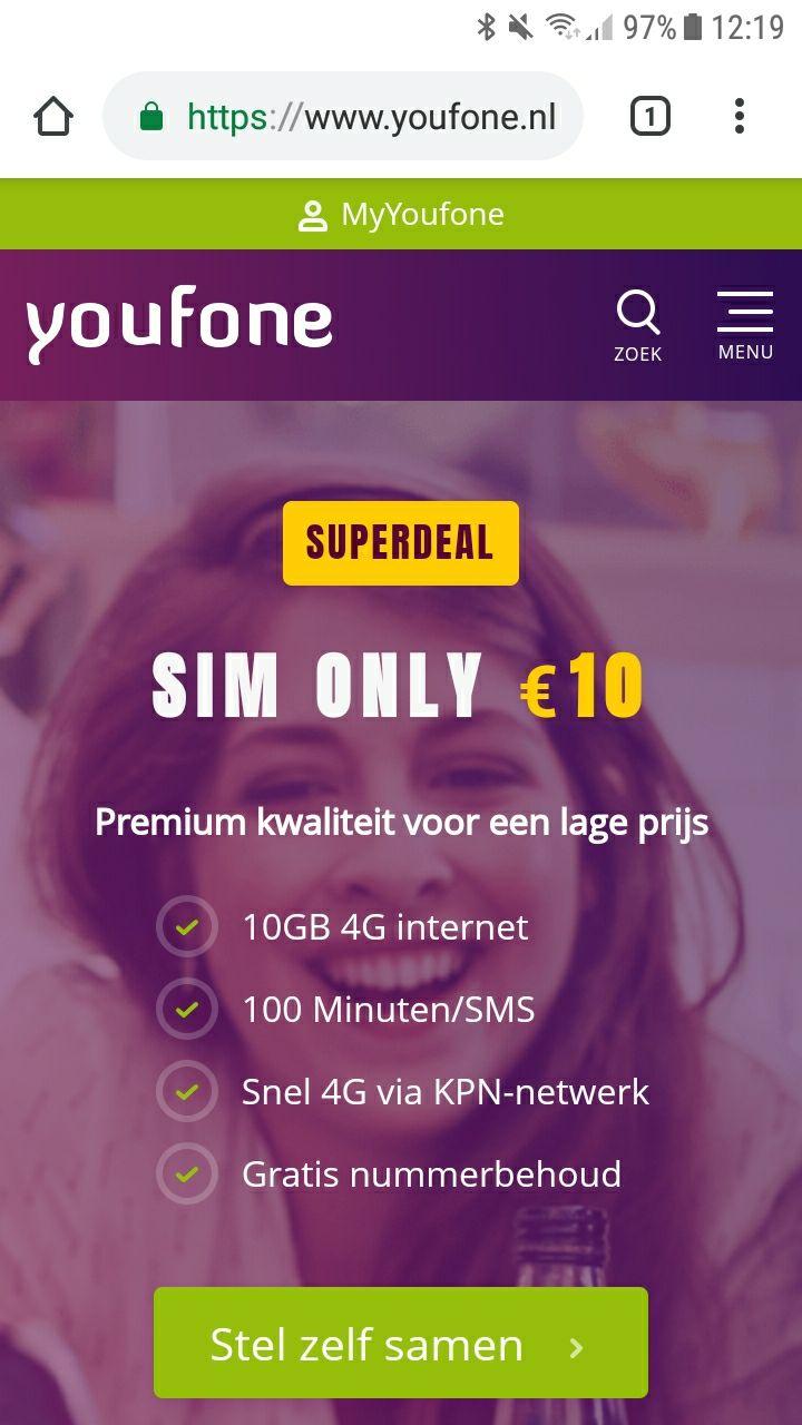 10GB 4G + 100 min/sms voor 10€ per maand
