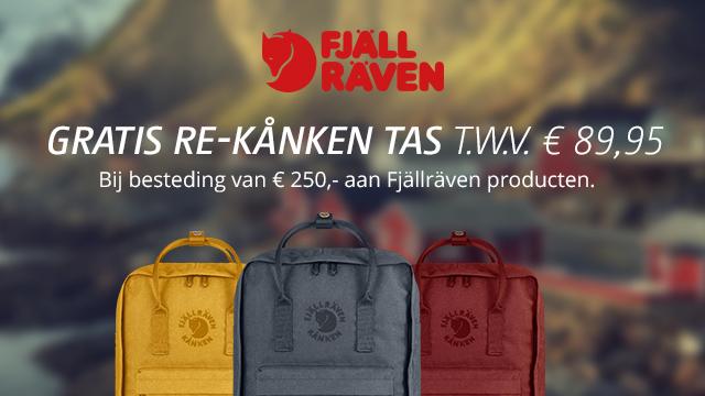Gratis Re-Känken tas (twv €90) bij besteding van € 250,- aan Fjällräven producten