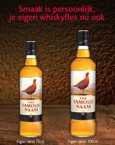 Gratis eigen label maken voor je whiskyfles @ The Famous Grouse