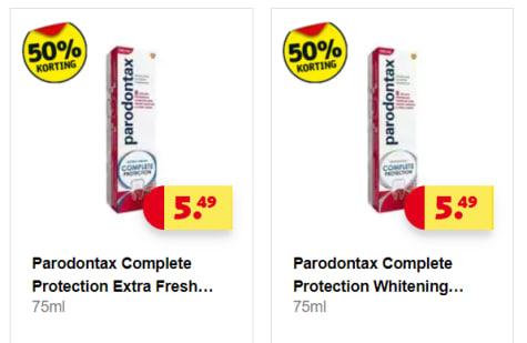 2 Stuks voor 5,49 : Alle Parodontax Complete Protection 1+1 gratis